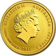 Australia 5 Dollars Year of the Rabbit 2011 KM# 1481 ELIZABETH II AUSTRALIA 1/20 OZ 9999 GOLD 2011 5 DOLLARS IRB coin obverse