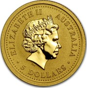 Australia 5 Dollars Year of the Rooster 2005 KM# 1022 ELIZABETH II AUSTRALIA 5 DOLLARS IRB coin obverse