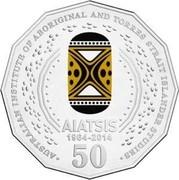 Australia 50 Cents AIATSIS (Colored) 2014 KM# 2159a AUSTRALIAN INSTITUTE OF ABORIGINAL AND TORRES STRAIT ISLANDER STUDIES AIATSIS 1964-2014 50 coin reverse
