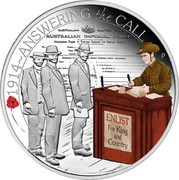 Australia 50 Cents ANZAC Spirit 100th Anniversary - Answering the Call 2014 Proof 1914~ANSWERING THE CALL ENLIST FOR KING AND COUNTRY P WR coin reverse