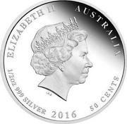 Australia 50 Cents ANZAC Spirit 100th Anniversary - Australia's First Anzac Day 2016 P ELIZABETH II AUSTRALIA 1/2 OZ 999 SILVER 2016 50 CENTS IRB coin obverse