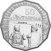 Australia 50 Cents Australia at War - Afghanistan 2016  50 AFGHANISTAN coin reverse
