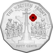 Australia 50 Cents Australia at War - The Western Front 2014  THE WESTERN FRONT 50 CENTS FRANCE, ENGLAND, BELGIUM, GERMANY, SPAIN, ITALY coin reverse