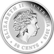 Australia 50 Cents Australian Koala 2010 KM# 1366 ELIZABETH II AUSTRALIA 2010 50 CENTS IRB coin obverse
