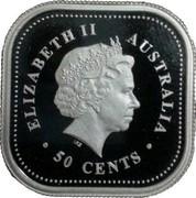 Australia 50 Cents Australian Kookaburra 2002 KM# 875 ELIZABETH II AUSTRALIA 50 CENTS IRB coin obverse