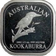 Australia 50 Cents Australian Kookaburra 2002 KM# 875 AUSTRALIAM KOOKABURRA 2002 1/2 OZ. 999 SILVER P coin reverse