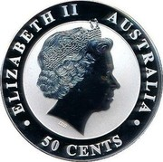 Australia 50 Cents Australian Kookaburra (Colorized) 2012 KM# 1799 ELIZABETH II AUSTRALIA 50 CENTS IRB coin obverse