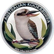 Australia 50 Cents Australian Kookaburra (Colorized) 2012 KM# 1799 AUSTRALIAN KOOKABURRA 2012 1/2 OZ 999 SILVER P coin reverse