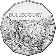 Australia 50 Cents Battle of Bullecourt 2017  BULLECOURT 50 1917 ENGRAVER: E. LLEWELLEN coin reverse