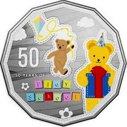 Australia 50 Cents Big Ted & Little Ted 2016  50 50 YEARS OF PLAY SCHOOL coin reverse