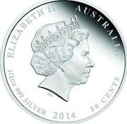 Australia 50 Cents Lunar Horse 2014  ELIZABETH II AUSTRALIA 1/2 OZ 999 SILVER 2014 50 CENTS IRB coin obverse