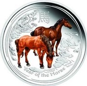 Australia 50 Cents Lunar Horse 2014  YEAR OF THE HORSE P TV coin reverse