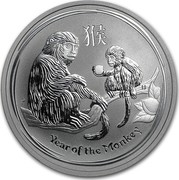 Australia 50 Cents Lunar Monkey 2016 YEAR OF THE MONKEY P IJ coin reverse