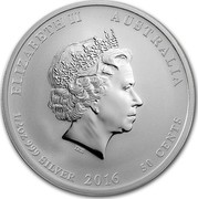 Australia 50 Cents Lunar Monkey (Colorized) 2016 ELIZABETH II AUSTRALIA 1/2 OZ 999 SILVER 2016 50 CENTS IRB coin obverse