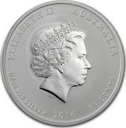 Australia 50 Cents Lunar Monkey King (Colorized) 2016 ELIZABETH II AUSTRALIA 1/2 OZ 999 SILVER 2016 50 CENTS IRB coin obverse