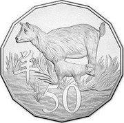 Australia 50 Cents Lunar Year of the Goat Cu Ni 2015  50 coin reverse