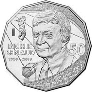 Australia 50 Cents Richie Benaud 1930-2015 2017 UNC RICHIE BENAUD 1930-2015 50 coin reverse