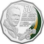 Australia 50 Cents Sir Jack Brabham 2017  50 SIR JACK BRABHAM F1 WORLD CHAMPION 1959.60.66 coin reverse