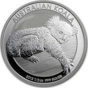 Australia 50 Cents Sleeping Koala 2012 KM# 1798 AUSTRALIAN KOALA 2012 1/2 OZ 999 SILVER P coin reverse