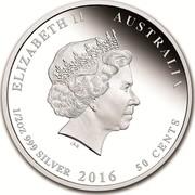 Australia 50 Cents Snugglepot and Cuddlepie 2016 ELIZABETH II AUSTRALIA 1/2 OZ 999 SILVER 2016 2016 50 CENTS IRB coin obverse