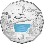 Australia 50 Cents War in the Pacific 2015  WAR IN THE PACIFIC 50 coin reverse