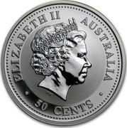 Australia 50 Cents Year of the Goat 2003 KM# 664 ELIZABETH II AUSTRALIA 50 CENTS IRB coin obverse