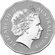 Australia 50 Cents Year of the Horse 2014  ELIZABETH II AUSTRALIA 2014 coin obverse