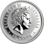 Australia 50 Cents Year of the Rooster 2005 P KM# 791 ELIZABETH II AUSTRALIA 50 CENTS IRB coin obverse