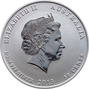 Australia 50 Cents Year of the Snake 2013 KM# 1832 ELIZABETH II AUSTRALIA 1/2 OZ 999 SILVER 2013 50 CENTS IRB coin obverse