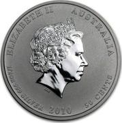 Australia 50 Cents Year of the Tiger 2010 KM# 1370 ELIZABETH II AUSTRALIA 1/2 OZ 999 SILVER 2010 50 CENTS IRB coin obverse