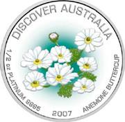 Australia 50 Dollars Anemone buttercup 2007 P Proof KM# 991 DISCOVER AUSTRALIA 1/2 OZ PLATINUM 9995 2007 ANEMONE BUTTERCUP coin reverse