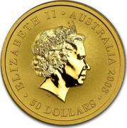 Australia 50 Dollars Australian Kangaroo 2008 KM# 1774 ELIZABETH II AUSTRALIA 2008 50 DOLLARS IRB coin obverse