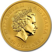 Australia 50 Dollars Australian Kangaroo 2010 KM# 1364 ELIZABETH II AUSTRALIA 50 DOLLARS IRB coin obverse