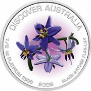 Australia 50 Dollars Black-Anther Flax-Lily 2008 P Proof KM# 1206 DISCOVER AUSTRALIA coin reverse