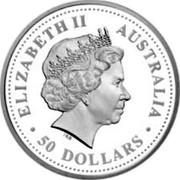 Australia 50 Dollars Black-anther flax lily 2008 Proof KM# 1167 ELIZABETH II AUSTRALIA ∙ 50 DOLLARS ∙ IRB coin obverse