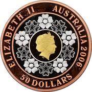 Australia 50 Dollars Commonwealth Games Melbourne 2006 KM# 785 ELIZABETH II AUSTRALIA 2006 50 DOLLARS IRB coin obverse