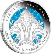 Australia 50 Dollars Discover Australia - Dolphin 2009 KM# 1238 DISCOVER AUSTRALIA 2009 DOLPHIN 1/2 OZ 9995 PLATINUM P DB coin reverse