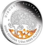 Australia 50 Dollars Discover Australia - Echidna 2009 KM# 1241 DISCOVER AUSTRALIA 2009 ECHIDNA 1/2 OZ 9995 PLATINUM P DB coin reverse