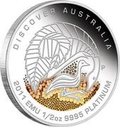 Australia 50 Dollars Discover Australia - Emu 2011 KM# 1539 DISCOVER AUSTRALIA 2011 EMU 1/2 OZ 9995 PLATINUM P DB coin reverse