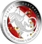 Australia 50 Dollars Discover Australia - Frilled Neck Lizard 2010 KM# 1398 DISCOVER AUSTRALIA 2010 FRILLED NECK LIZARD 1/2 OZ 9995 PLATINUM P DB coin reverse
