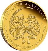 Australia 50 Dollars Discover Australia - Frilled Neck Lizard 2010 KM# 1400 DISCOVER AUSTRALIA 2010 FRILLED NECK LIZARD 1/2 OZ 9999 GOLD P DB coin reverse
