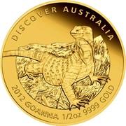 Australia 50 Dollars Discover Australia - Goanna 2012 KM# 1730 DISCOVER AUSTRALIA 2012 GOANNA 1/2 OZ 9999 GOLD coin reverse
