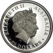 Australia 50 Dollars Discover Australia - Kangaroo 2009 KM# 1237 ELIZABETH II AUSTRALIA 50 DOLLARS IRB coin obverse