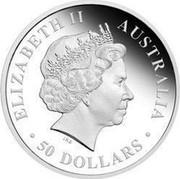 Australia 50 Dollars Discover Australia - King Brown Snake 2009 KM# 1239 ELIZABETH II AUSTRALIA 50 DOLLARS IRB coin obverse