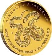 Australia 50 Dollars Discover Australia - King Brown Snake 2009 KM# 1229 DISCOVER AUSTRALIA 2009 KING BROWN SNAKE 1/2 OZ 9999 GOLD P DB coin reverse