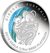 Australia 50 Dollars Discover Australia - Koala 2010 KM# 1404 DISCOVER AUSTRALIA 2010 KOALA 1/2 OZ 9995 PLATINUM P DB coin reverse