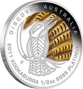 Australia 50 Dollars Discover Australia - Kookaburra 2011 KM# 1551 DISCOVER AUSTRALIA 2011 KOOKABURRA 1/2 OZ 9995 PLATINUM P DB coin reverse