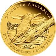Australia 50 Dollars Discover Australia - Kookaburra 2012 KM# 1727 DISCOVER AUSTRALIA 2012 KOOKABURRA 1/2 OZ 9999 GOLD P coin reverse