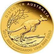 Australia 50 Dollars Discover Australia - Red Kangaroo 2012 KM# 1729 DISCOVER AUSTRALIA 2012 RED KANGAROO 1/2 OZ 9999 GOLD P coin reverse