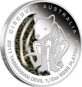 Australia 50 Dollars Discover Australia - Tasmanian Devil 2011 KM# 1545 DISCOVER AUSTRALIA 2011 TASMANIAN DEVIL 1/2 OZ 9995 PLATINUM P DB coin reverse